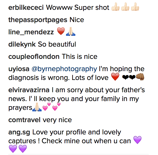 Instagram comments example