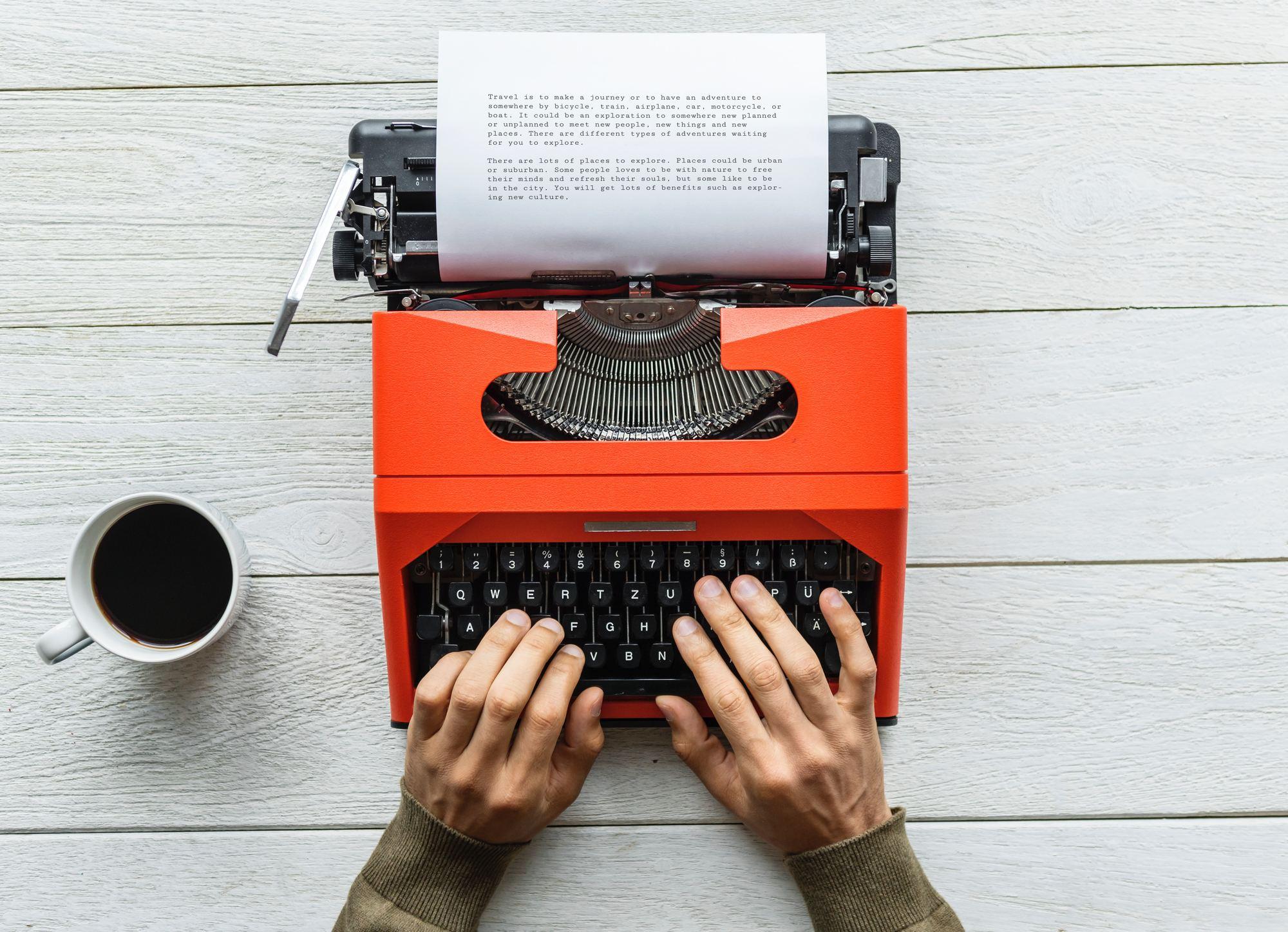 travel writing - typewriter