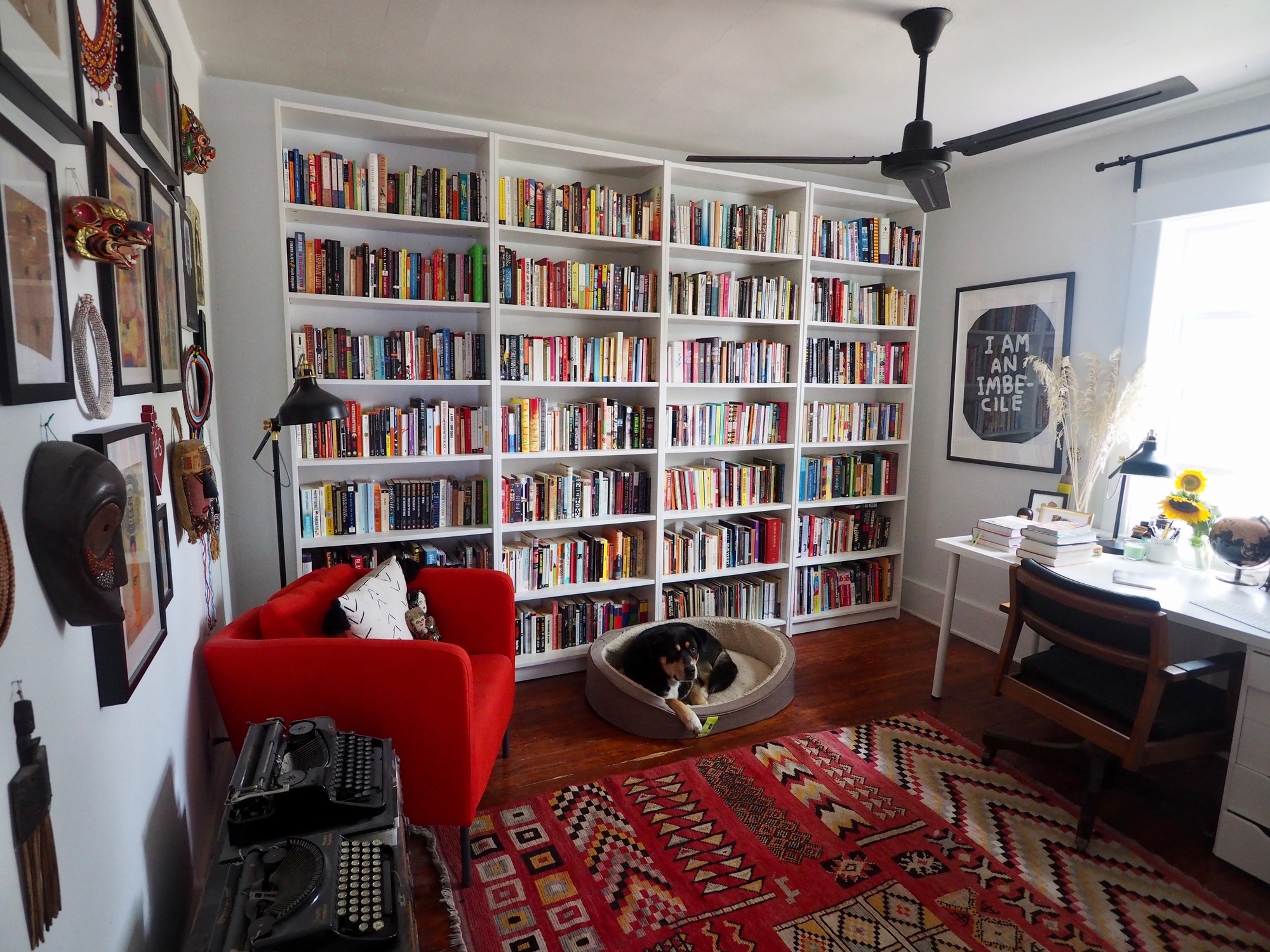 office with books - travel writing tips