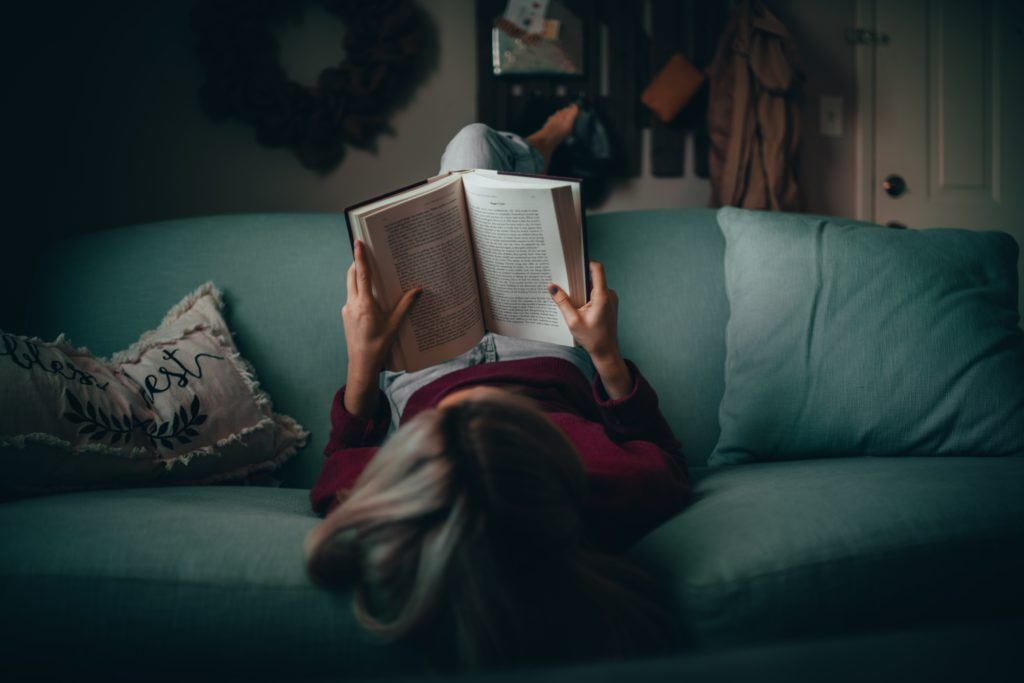 reading on couch