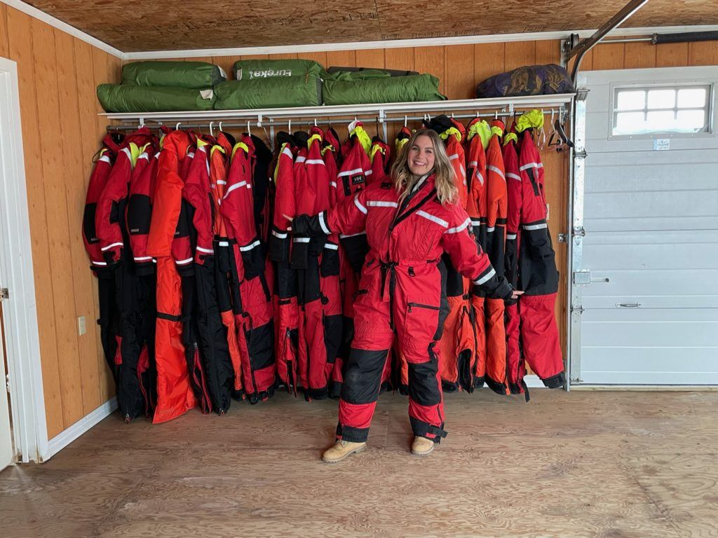 Brenna in a survival suit in Churchill